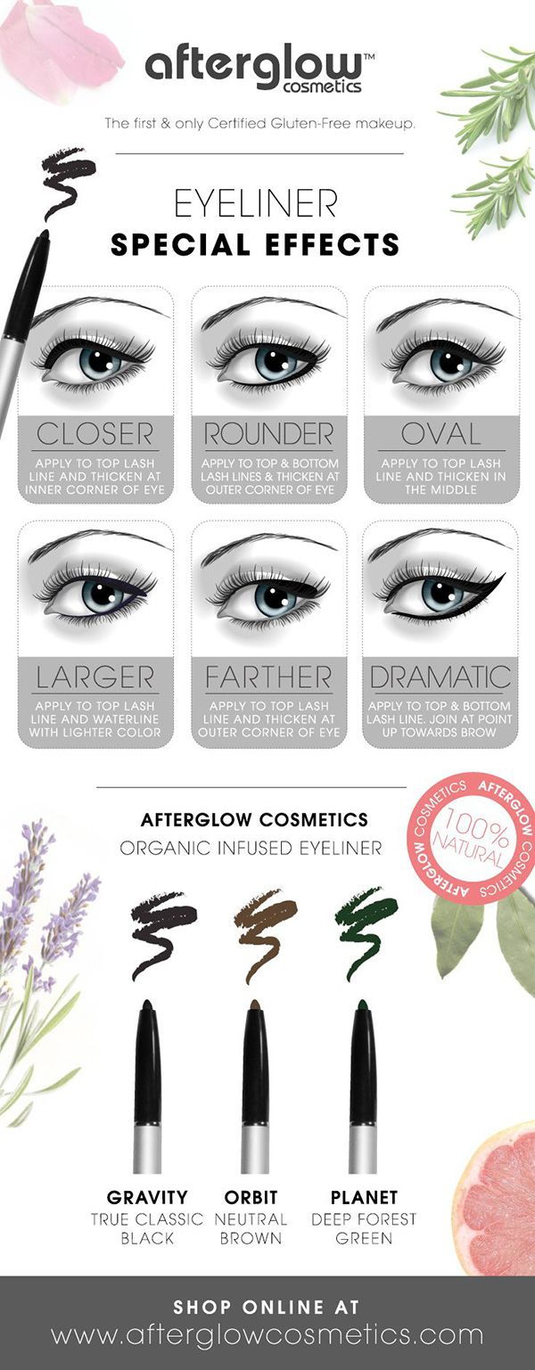 Liquid eyeliner tips and tricks. I like the 'Oval' and 'Dramatic' eyeliner techniques the best!