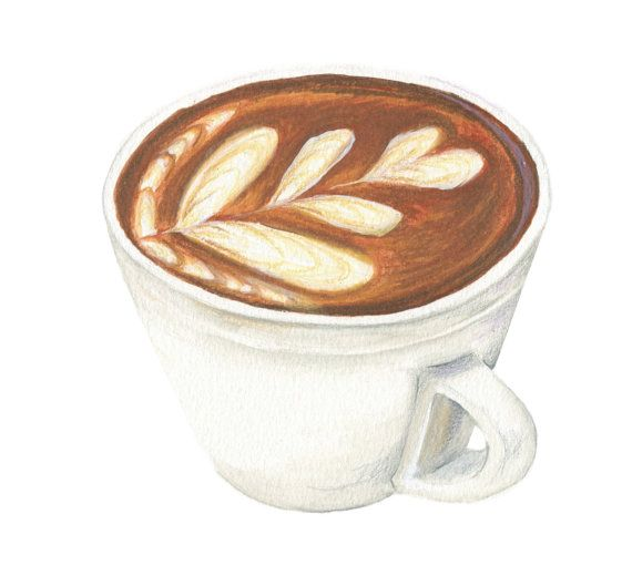 Latte Coffee Art // Food Illustration // Art by KendyllHillegas