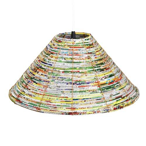 this was made with recycled food wrappers but cloth, magazines, paper would work
