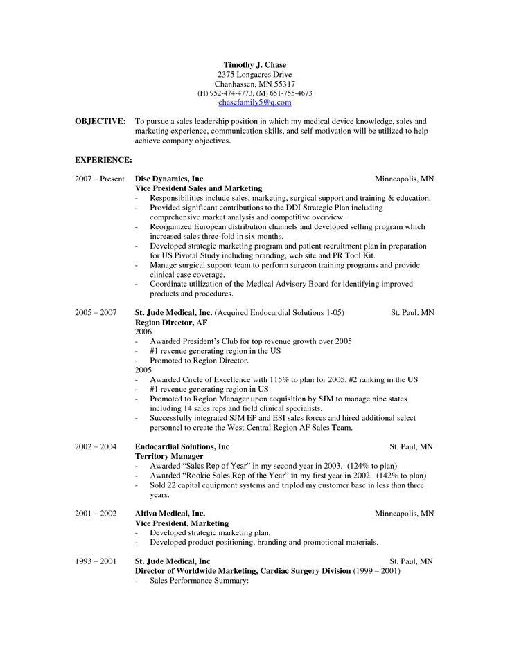 Medical Device Sales Resume Examples - Examples of Resumes - medical sales resume examples