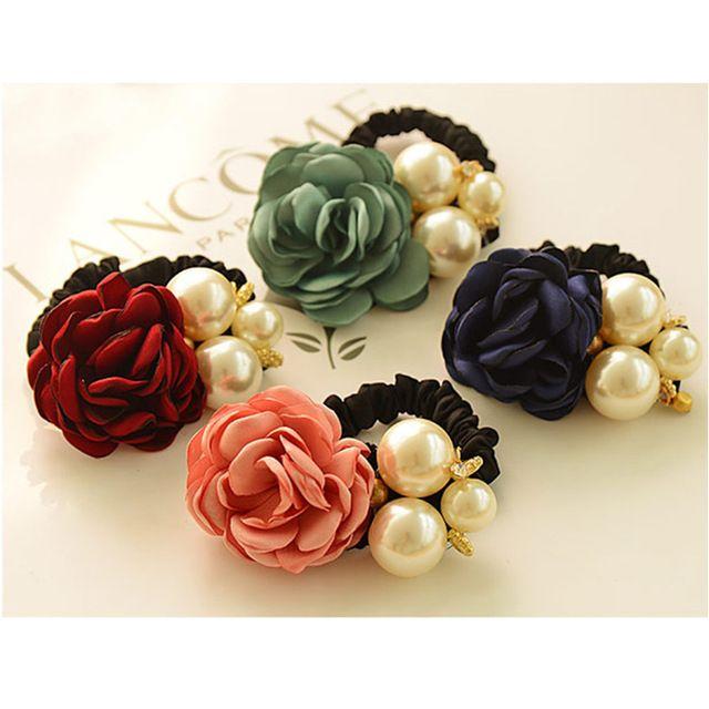 2016 Mujeres Del Estilo de Corea lindo Accesorios Para el Cabello Cuerda de Pelo Grande de la Flor Del Rhinestone Encantos de La Perla Headwear Banda de Goma del pelo para las niñas