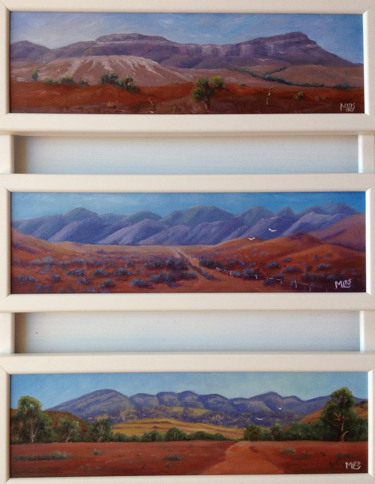 'Flinders Ranges Tryptich' is 3 small panoramic scenes of the Flinders Ranges. It is framed in a totally unique, custom frame. It will be on show at Bacchus Marsh Art Show over the Queens birthday long weekend 6 - 9 June 2104.