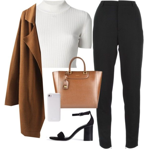 Breathe Outfit Ideas with Short Sleeve Turtle Neck Sweater, Md-long Knitting Coat, Saint Laurent Tailored Trousers, Zara Block Heel and Handbags