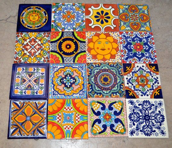 16 Mexican Talavera Tiles Handmade Hand Painted 4 X 4 Talavera Pottery Decorative Tile Tile Patterns