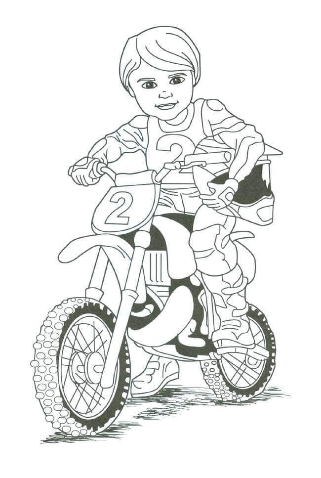 Boy On Dirt Bike Coloring Page Motorcycle Birthday Dirt Bike Birthday Dirt Bike Party