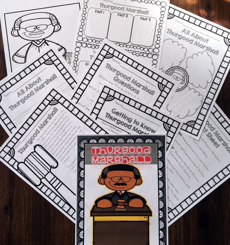 This African American History/Black History Activity Set includes everything you need to teach your students about Thurgood Marshall and his contribution to African American history.  Activities Included: Poster (in color) Coloring Sheet  Graphic Organizer for Facts Fact Sheet with important information on the historical figure Bubble Map Synthesizing (KWL Chart) Activity Passage and Questions Writing Prompt