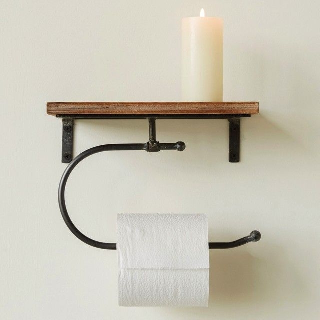 Wall Shelf with Toilet Paper Holder | Antique Farmhouse