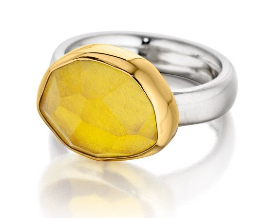 Symmetry: 18Kt Gold & Sterling Silver Ring with Heliodor, Beryl