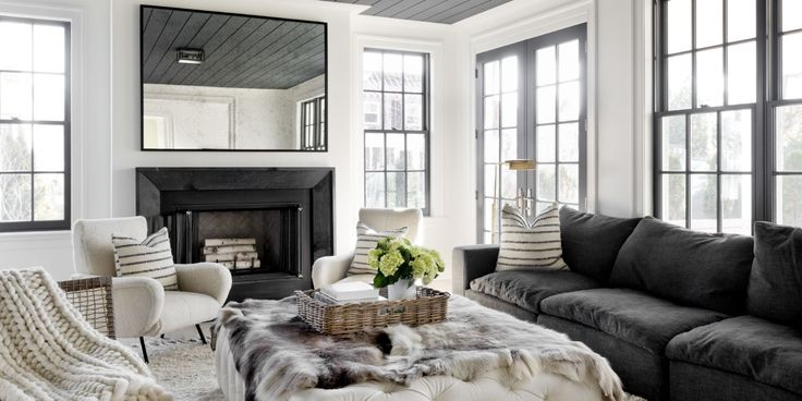 Another thought for the LR. Darker Grey sofa, and then the rest of the furnishings can be creamy and various textural differences. Nice and clean. Also, like the super clean mirror.