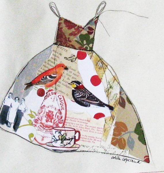 Original collage on paper, Tea Party Dress, ColetteCopeland $38 #etsy