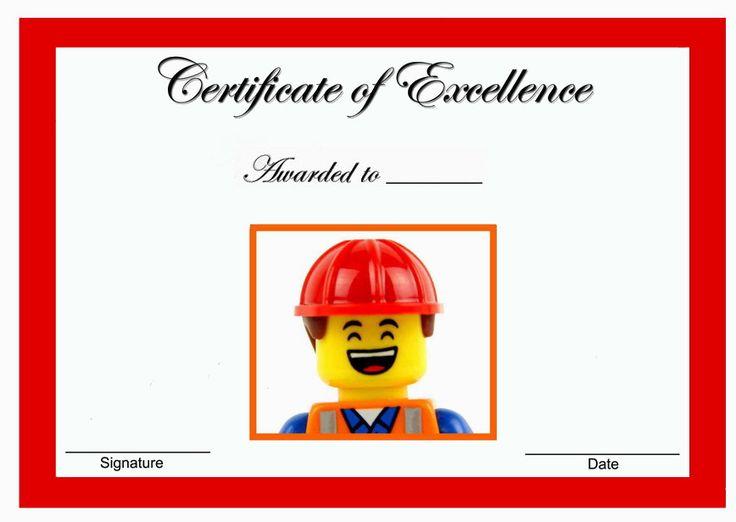 Award certificates Lego movie