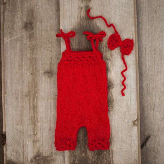 Red knitted baby romper and bow handband/ Baby by GabriCollection