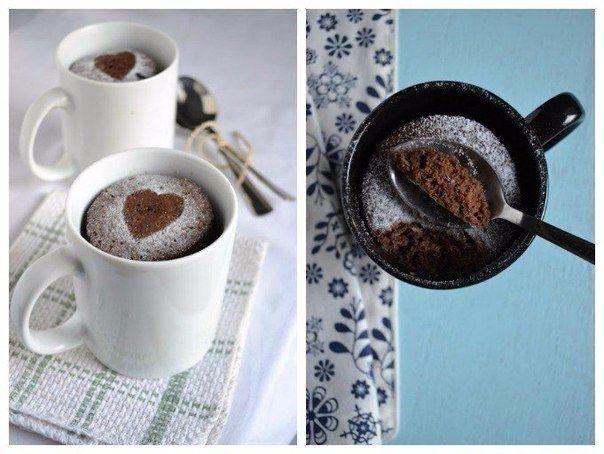Coffee and chocolate cake in a mug