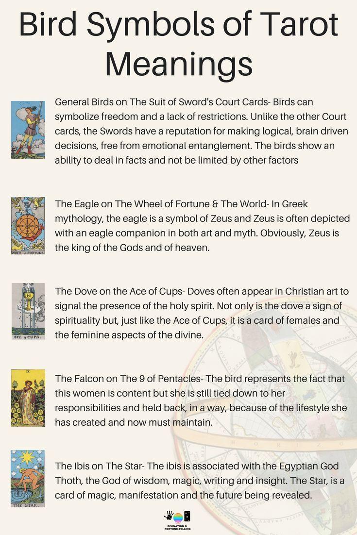 Meanings Of Bird Symbols On Tarot Cards Pinterest Rider Waite