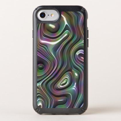 Purple Teal Cool Faux Shiny 3D Retro Waves Pattern Speck iPhone Case - blue gifts style giftidea diy cyo