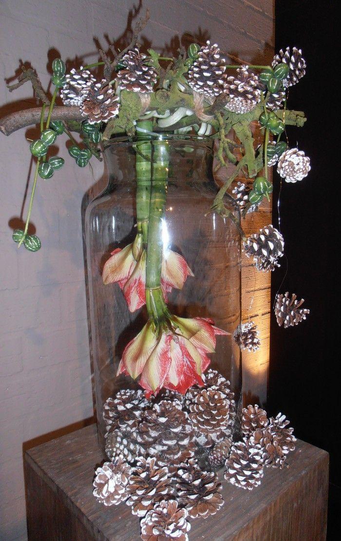 Grote glazen pot met denneappels, amaryllis een paar takken en wat sierlijk groen. Ik zeg een TOP stuk en zo simpel te maken.