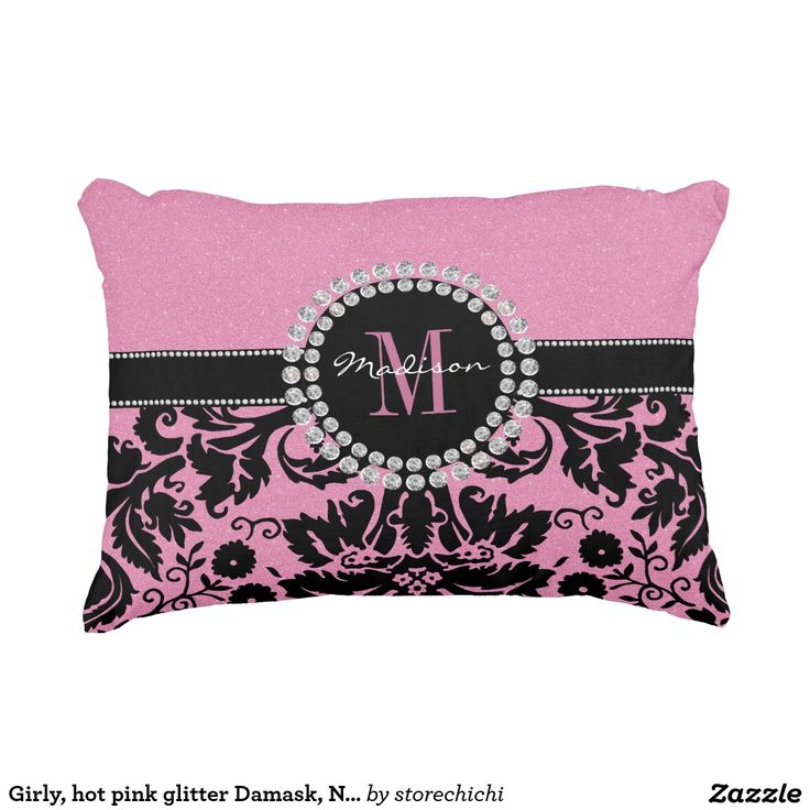 Girly, hot pink glitter Damask, Name or Monogram