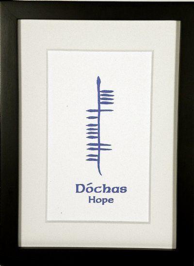 Hope (Dóchas) presented in an uplifting sky blue ogham.