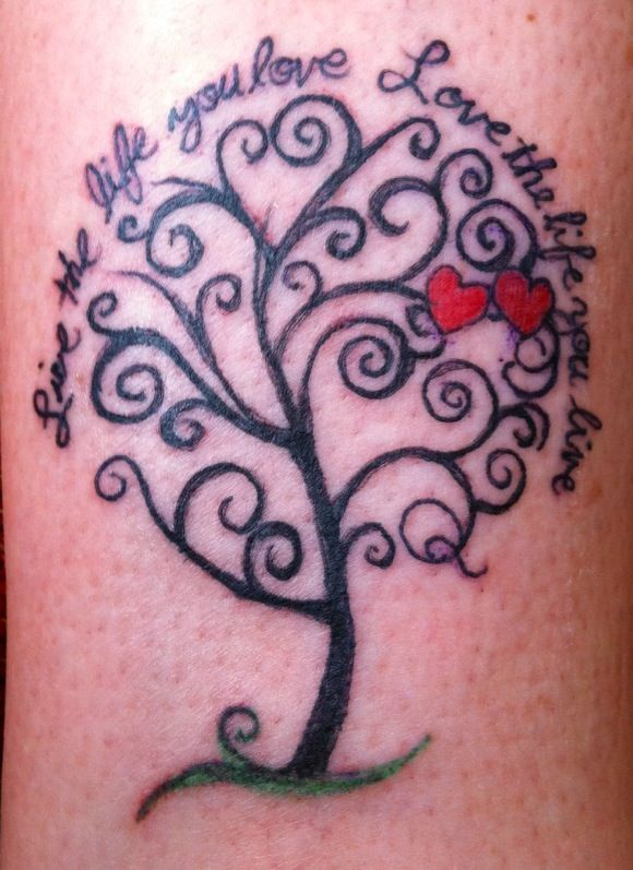 Not digging the hearts Tattoo, family tree - liking this with some sort of…