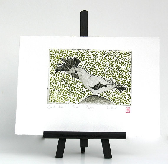 Cockatoo  Original Etching by freshandsilly on Etsy, $25.00