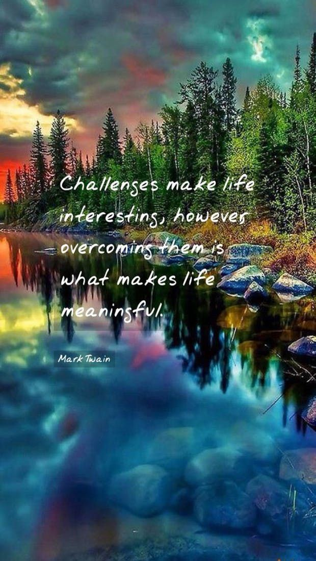 """""""Challenges make life interesting, however overcoming them is what makes life meaningful."""" — Mark Twain"""
