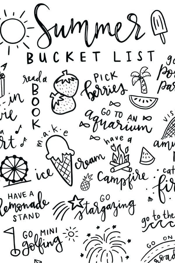 Summer Bucket List Free Printable Coloring Page Free Printable Coloring Pages Printable Coloring Pages Free Printable Coloring