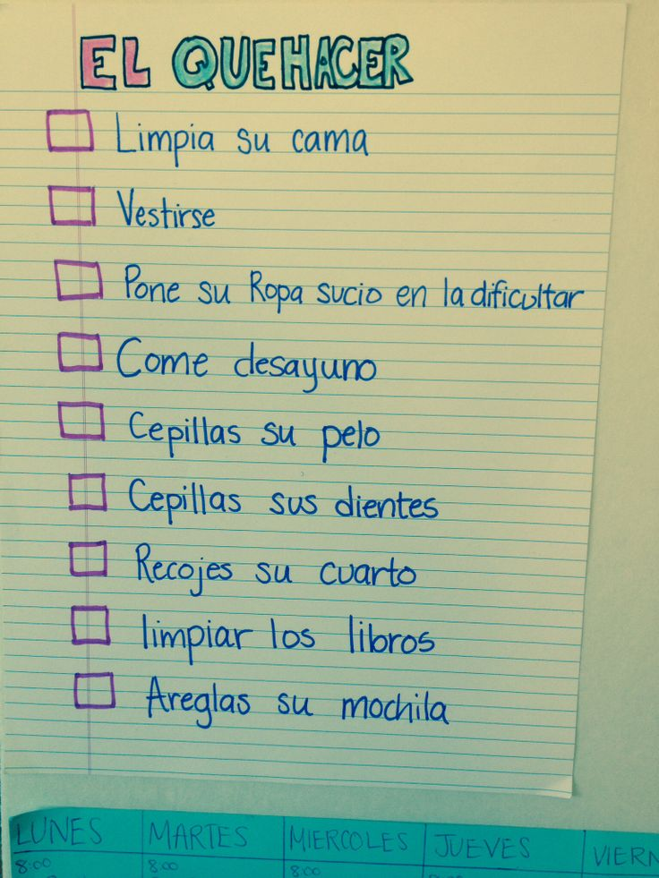 to do list in spanish