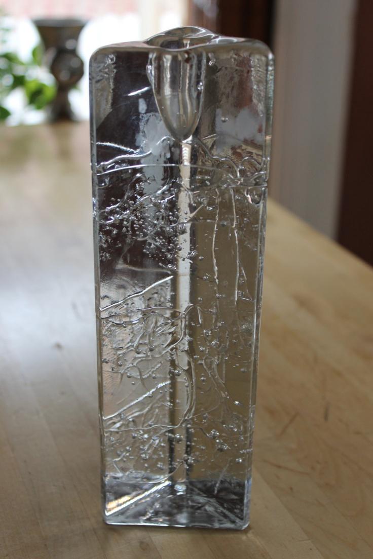 Vintage, mid century modern, Iittala Arkipelago Finland - Art Glass / Ice Glass - Timo Sarpaneva -Triangle Candle Holder