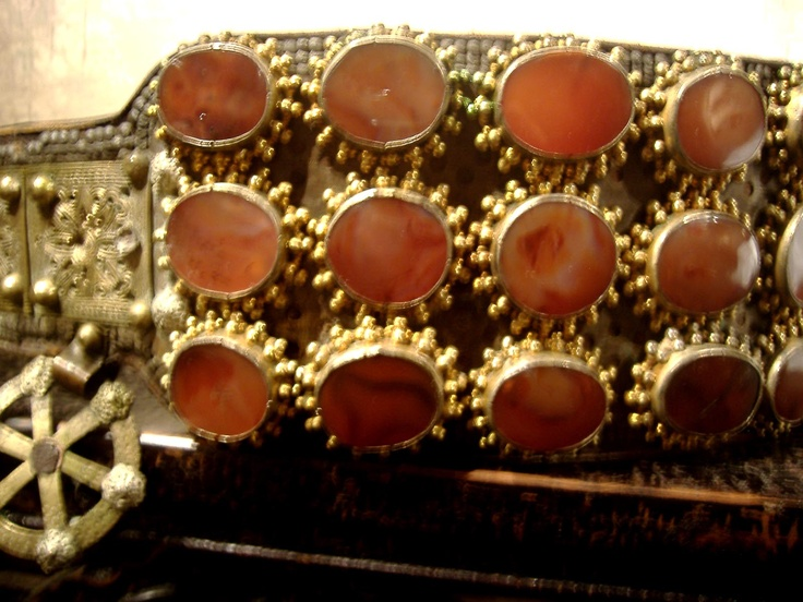 Detail of leather and carnelian belt from Serbia 18th c   Archives sold…