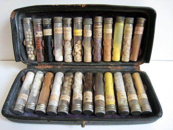 Stunning Victorian Doctors Leather Medicine Case Complete 1880. $500.00, via Etsy.
