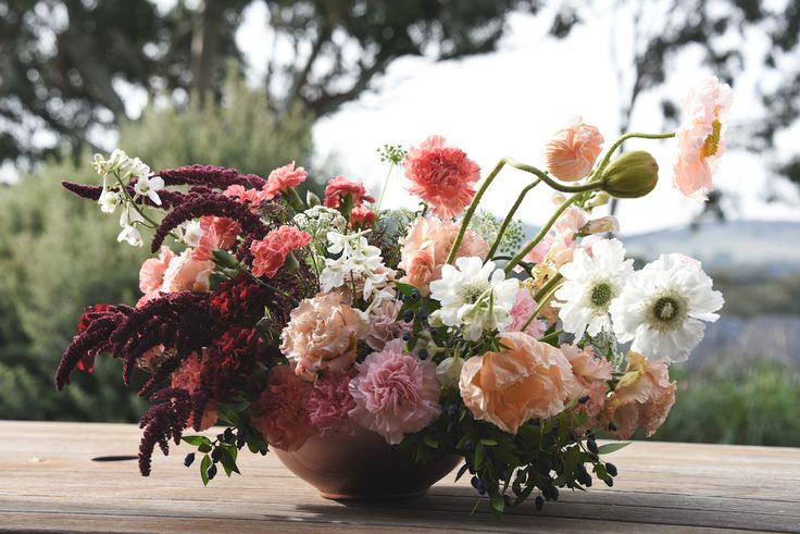 centrepiece, amaranth, poppies, scabiosa, carnation, peach, white, burgundy, may flowers