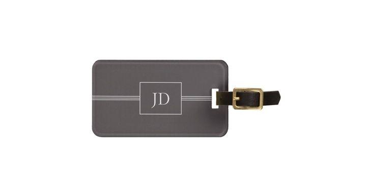 Simple Elegant Dark Grey Monogram Luggage Tag #CustomGifts