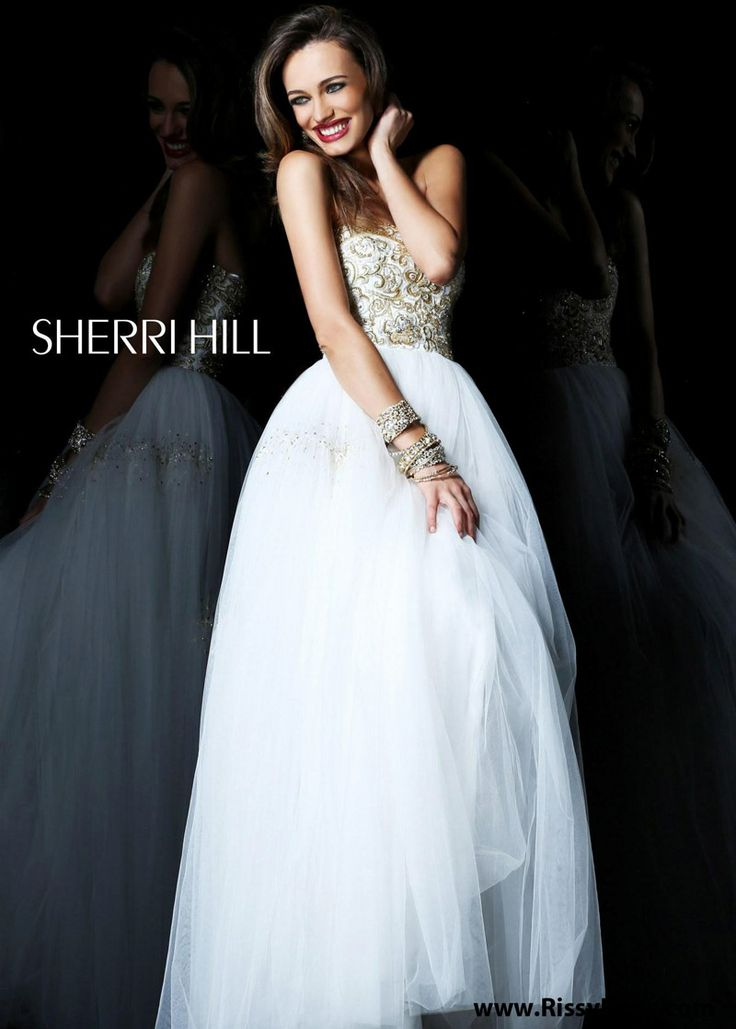 2013 Sherri Hill 21059 Ivory Strapless Evening Gown