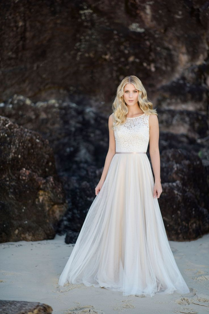 The 'Fiona' Bertossi Brides gown created in a 'Cappuccino silk satin and French lace with a silky tulle overlay skirt. Allowing for the soft boho look but with a fitted structured bodice giving support. Studio Impressions Photography, Evalyn Parsons Hair and Boudoir Blush Make up