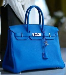 birkin clutch - Authentic Hermes Mykonos Blue 35cm Birkin Bag Togo Leather PHW
