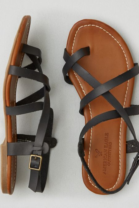 AEO Strappy Sandal , Black | American Eagle Outfitters