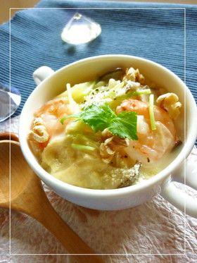 海老とポテトと湯葉のクリームスープパスタ