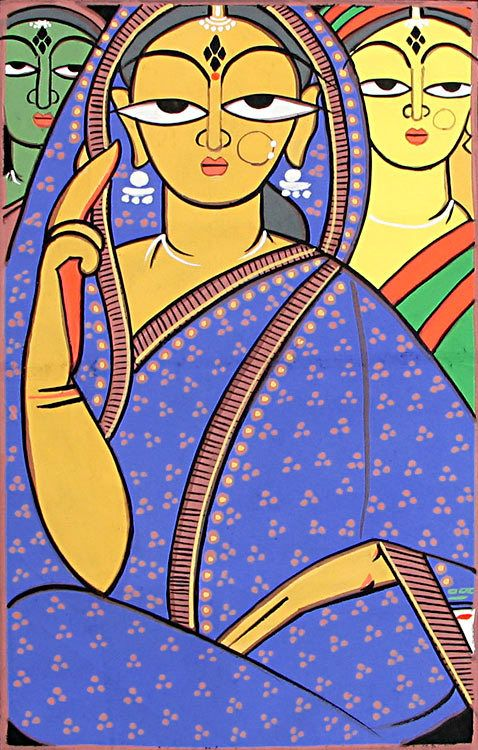 Three Vaishnavis - Krishna Devotees (Jamini Roy Painting Reproduction on Cloth - Unframed)) India is extremely rich in its cultural heritage. The rural sector of India has contributed vastly to its art and crafts. Indian folk art paintings deserve a special mention here, as each state has developed its own style and approach to art, which further enriches India's vast ethnic diversity. Featured in this simple, yet beautiful, folk art painting, is a picture of three women Vaishnavites, als…