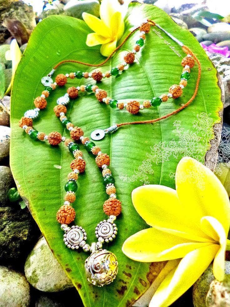 Harmony Ball Jade Rudraksha Necklace.
