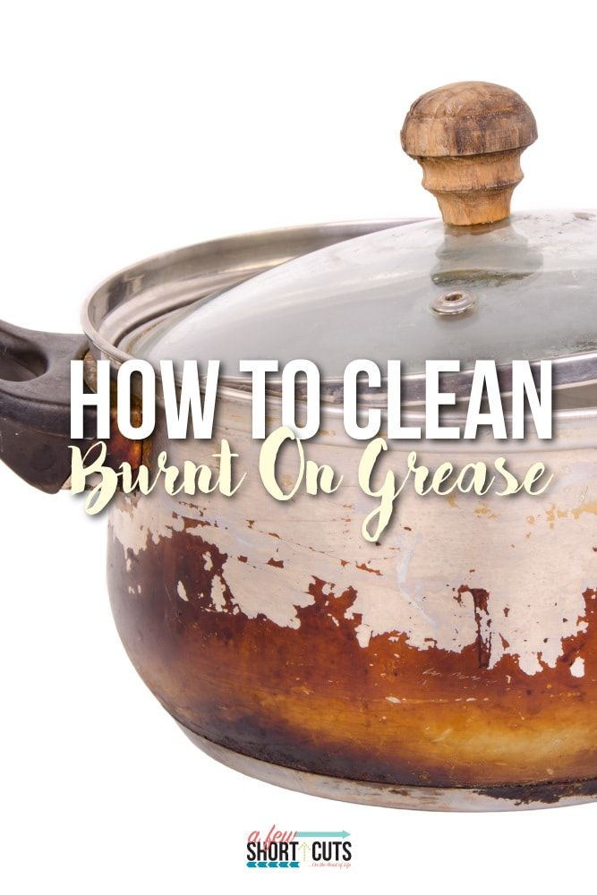 """Do you have a """"well loved"""" pot or pan with burnt on grease. Learn how to clean burnt on grease with your elbows intact. ;)"""