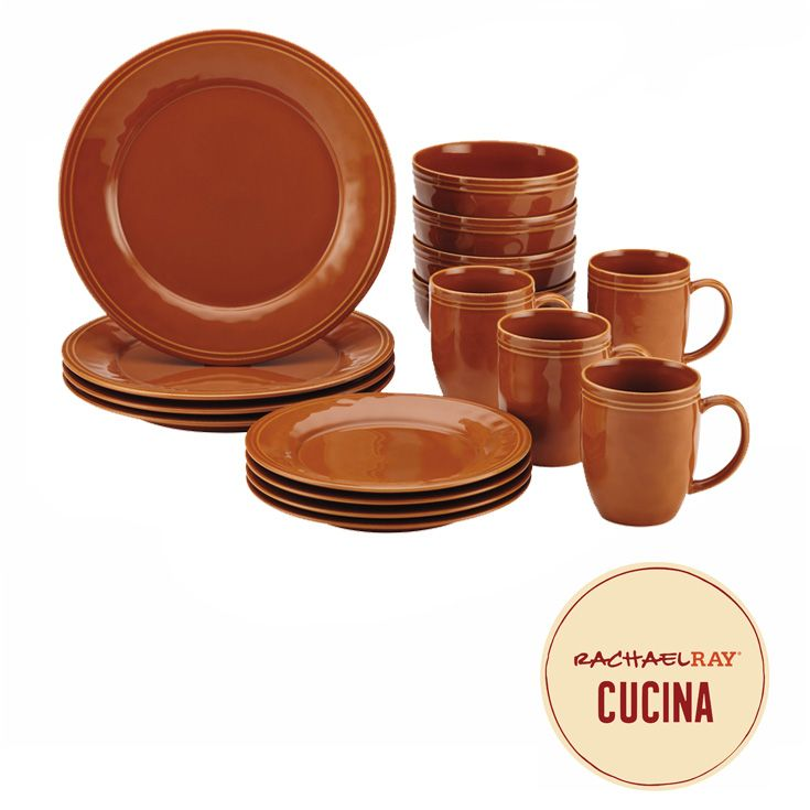 Experience the warm and welcoming appeal of the Rachael Ray Cucina Dinnerware 16-Piece Stoneware Dinnerware Set. Click on the image to learn more.