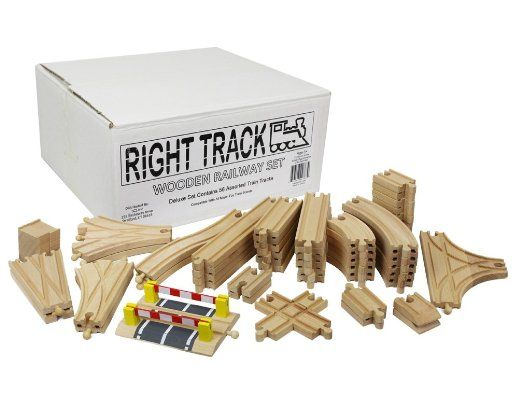 wooden train track deluxe set 56 assorted premium pieces by right track toys 100 compatible. Black Bedroom Furniture Sets. Home Design Ideas