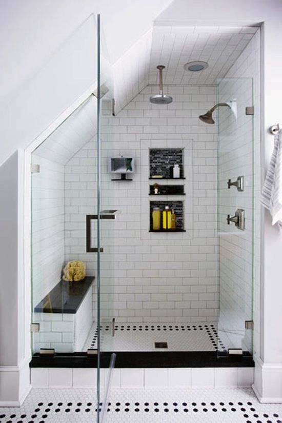 Subway tile in the shower.