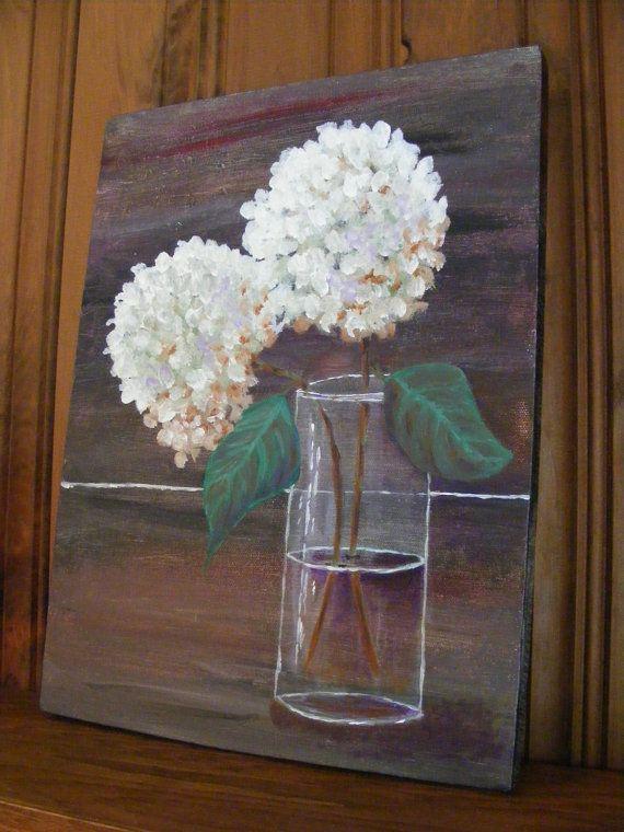 Art, Fine Art-Acrylic Painting of White Hydrangeas in a Clear Glass Vase via Etsy