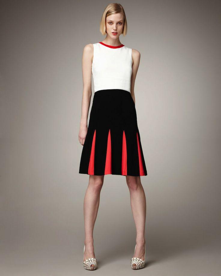 Color-block Wool Pleat Skirt