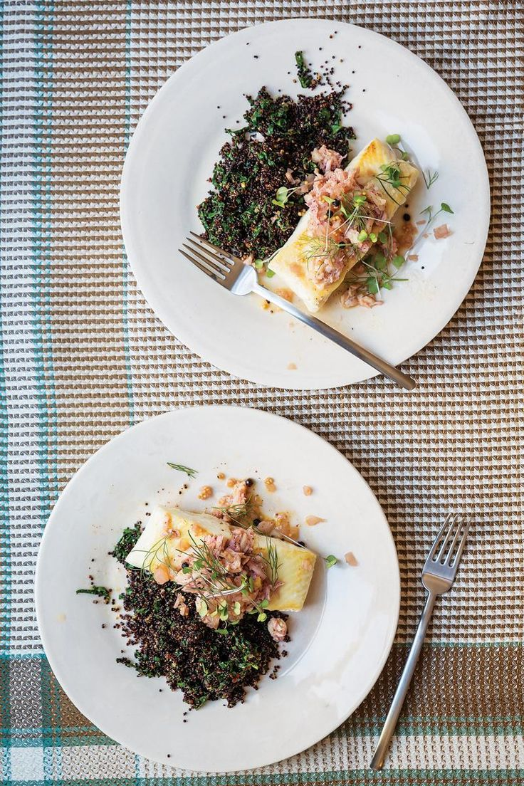 Grouper in Crab Sauce with Black Quinoa and Pickled Fennel | Recipe
