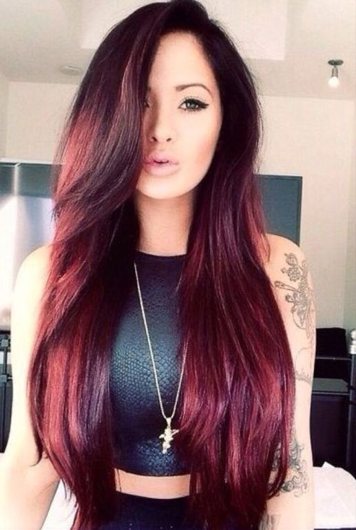 dark brown hair color with red tint