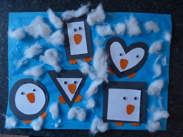Pinguïns in de sneeuw.  Tellen, kleuren, vormen. Begrippen: onderste, bovenste, middelste, links, rechts, grootste en kleinste.
