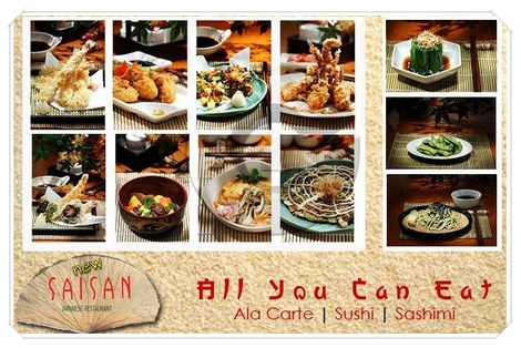 All you can eat at Saisan Japanese Restaurant, Disc. 50% Off! disdus.com/promo.php #Japanese #Food #Sushi