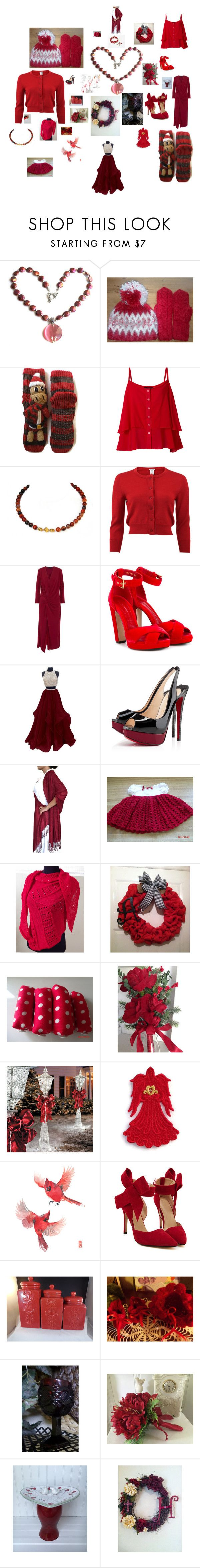 Hints Of Christmas by gillilandice on Polyvore featuring Maria Grachvogel, Oscar de la Renta, WithChic, Alexander McQueen, Christian Louboutin, Cadeau, Avon and Improvements
